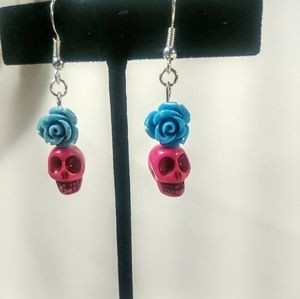 Jewelry - Pink Skull & Blue Flower Bead Earrings.